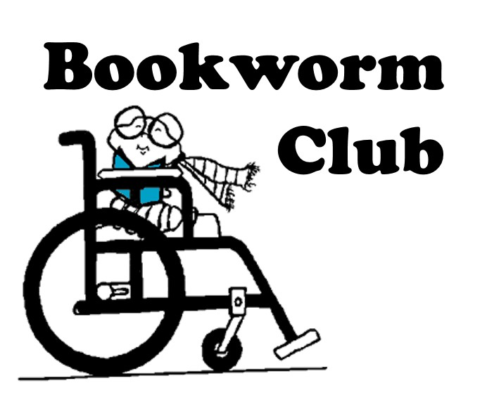 Hand drawn logo for bookclub including cute worm wearing glasses and scarf in a wheelchair